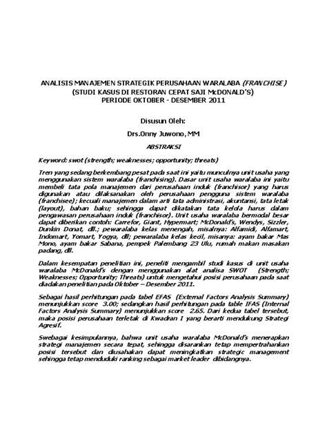 (PDF) JURNAL-ANALISIS-MANAJEMEN-STRATEGIK-Mc DONALDS Onny