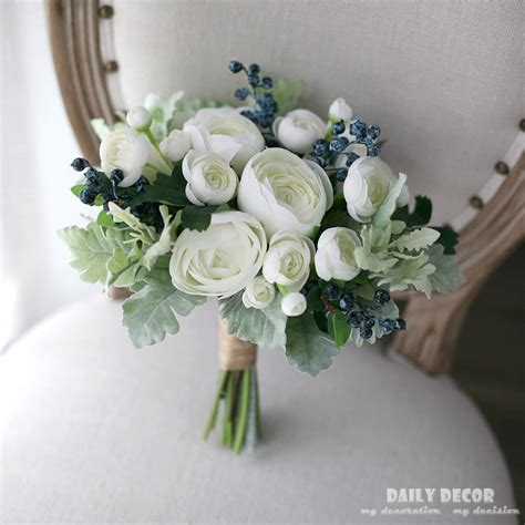 White Tea Rose Artificial Flowers Bridal Bouquet Fake