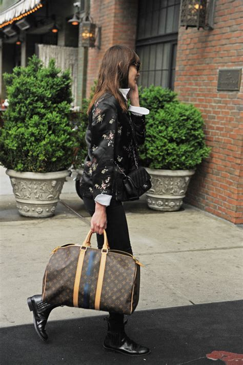 alexa chung steps   chanel    customized louis vuitton luggage purseblog