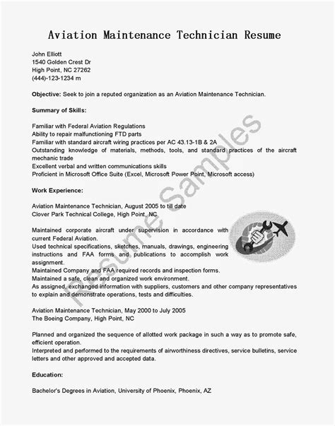 Aircraft Maintenance Technician Resume resume sles aviation maintenance technician resume sle