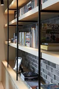 la bibliotheque murale en 65 photos inspirantes archzinefr With amazing meubles pour petits espaces 9 salon au style industriel bois metal