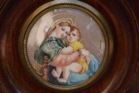 french antique madonna della seggiola miniature  ivory