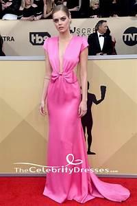 Samara Weaving Pink Backless Evening Dress 2018 SAG Awards Red Carpet Gown TheCelebrityDresses