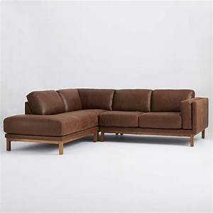 dekalb 3 piece premium leather terminal chaise sectional With leather sectional sofas west elm