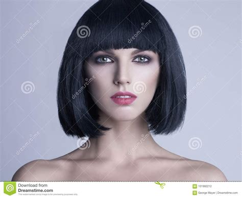 Beautiful Woman With Bob Haircut Stock Photo