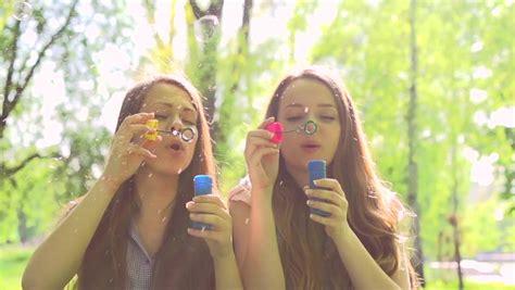 Beauty Teen Girls Having Fun Outdoors Beautiful Joyful