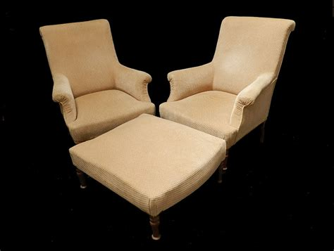 Pair Of Antique French Armchairs With Footstool Duchesse