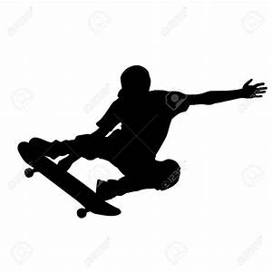 37274877-abstract-skateboard-silhouette-on-a-white ...
