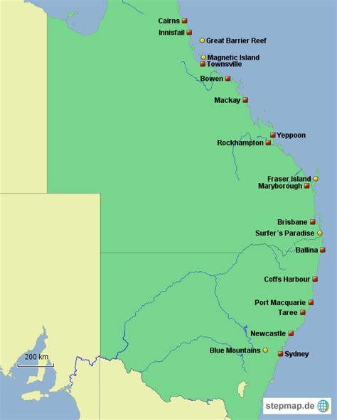 stepmap australien ostkueste landkarte fuer australien