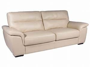 canape fixe 3 places en cuir giovanni coloris beige With tapis de gym avec magasin canapé en cuir