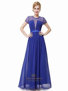 Royal Blue Lace Illusion Neckline Chiffon Prom Dress With ...