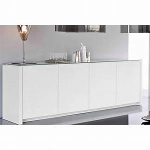 Buffet Bas Blanc : buffets meubles et rangements calligaris buffet bas mag blanc brillant avec plateau en verre ~ Teatrodelosmanantiales.com Idées de Décoration
