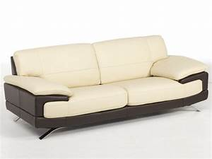 canape 3 places cuir luxe italien beige chocolat emotion With canape cuir luxe italien