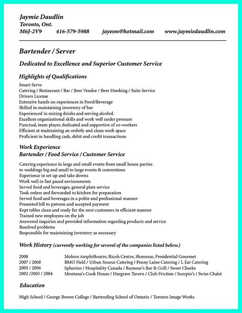 Server Resume Skills by Cocktail Server Resume Skills Are Needed So Much By The