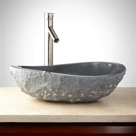 Granit Waschbecken Bad by Granite Vessel Sink With Light Granite Chiseled Exterior
