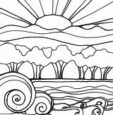 Sunset Coloring Pages Drawing Landscape Beach Sunsets Sun Flowers Line Drawings Doodle Printable Garden Robin Adults Mead Sketch Waves Print sketch template
