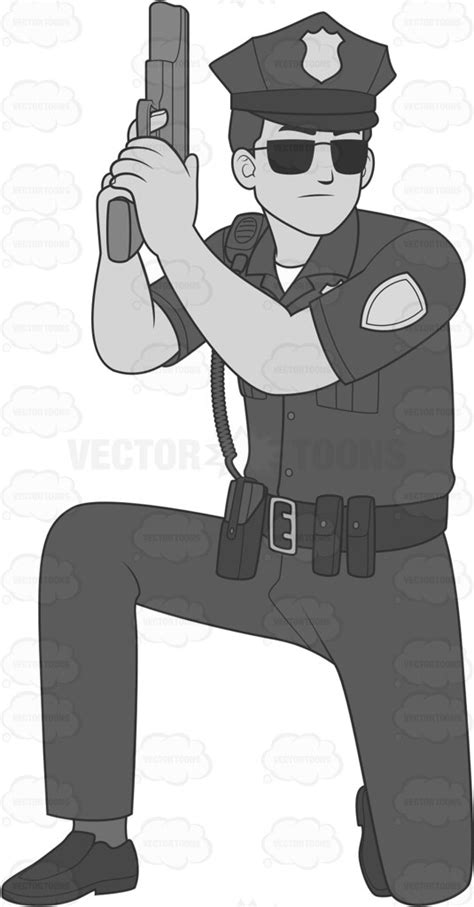 policeman with gun clipart black and white cop with a gun taking cover while kneeling