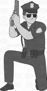 Male Cop With A Gun Taking Cover While Kneeling Cartoon ...