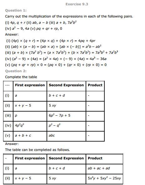 algebraic expressions worksheets grade 7 cbse algebraic