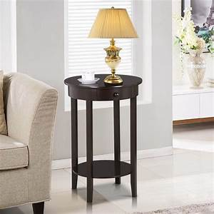 Yaheetech, Round, Sofa, Side, End, Table, With, Drawer, Wood, Beside, Nightstand, Console, Table, For, Small