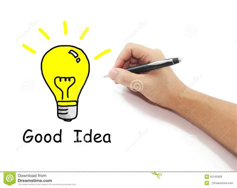 Hand With Pen Drawing Big Yellow Light Bulb With Good Idea