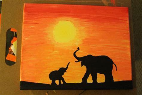 elephant silhouette sunset painting elephant family at sunset safari series