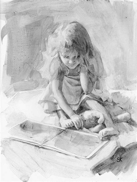 little girl reading charcoal drawing print - 11 x 14