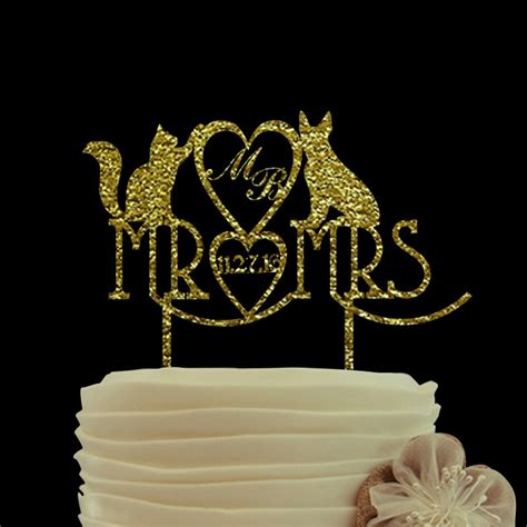 Gold Glitter Cake Topper Mr And Mrs Wedding Cake Toppers