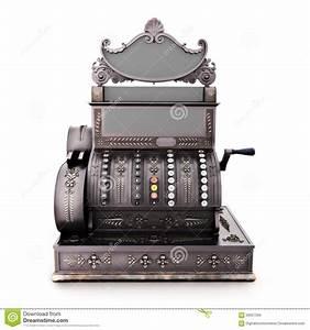 Antique Retro Cash Register On A White Background. Stock ...