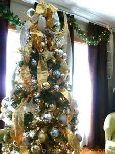 silver and gold christmas tree holidays pinterest