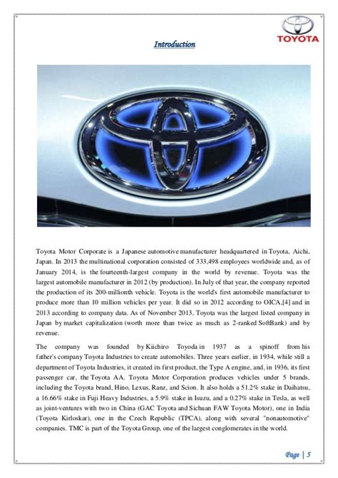 Toyota Marketing Strategy by Toyota Business Plan Toyota Business Practices 2019 02 02
