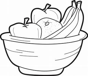 Free, Printable Bowl of Fruit Coloring Page for Kids