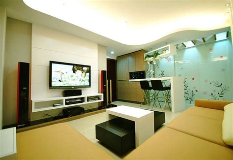 Minimalist living room TV background and bar counter