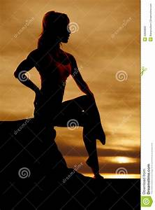 Woman Sitting Silhouette Hand On Back Stock Photo - Image ...