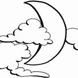 Coloring Clouds Moon Sunrise Behind sketch template