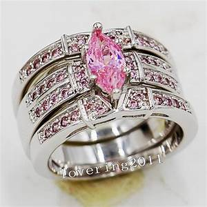 choucong engagement marquise cut pink stone 5a zircon With pink gold wedding ring sets