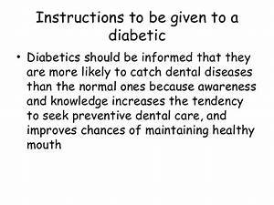 Management Of A Diabetic Patient In Dental Office