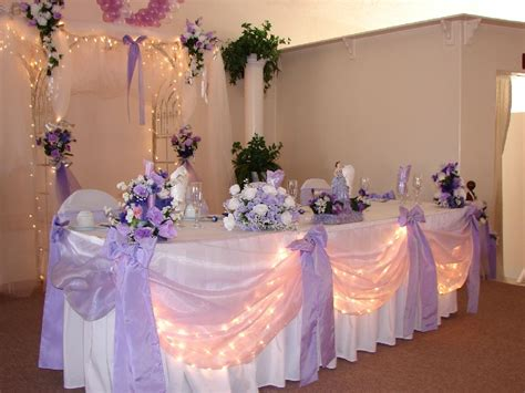 Lavender And White Head Table Decor Wedding Reception
