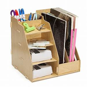 multi use office wood desk organizer file holder rack With document rack
