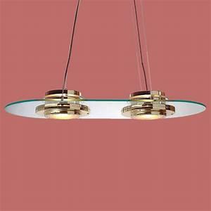 Bright brass glass ceiling light vintage