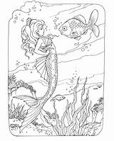 Mermaid Coloring Pages Adult Adults Fish Conversation sketch template
