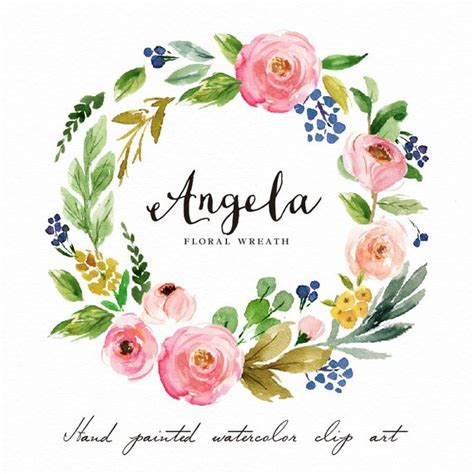 watercolor flower wreath clipart angela painted wedding