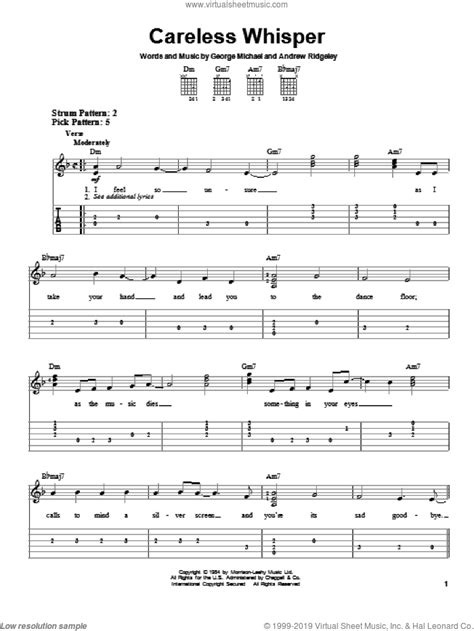The free sheet music is provided for personal enjoyment only, not for resale purposes. Michael - Careless Whisper sheet music for guitar solo ...