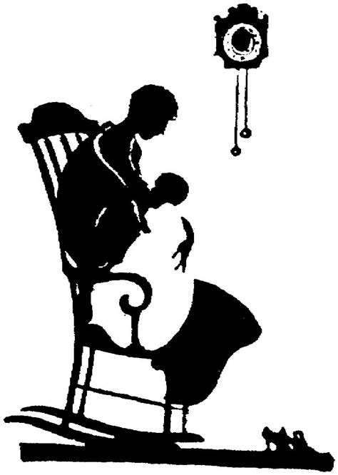 partial silhouette mother baby rocking chair clock | Baby