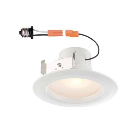 4 inch recessed lighting bulbs commercial electric 4 in white recessed led trim with 90