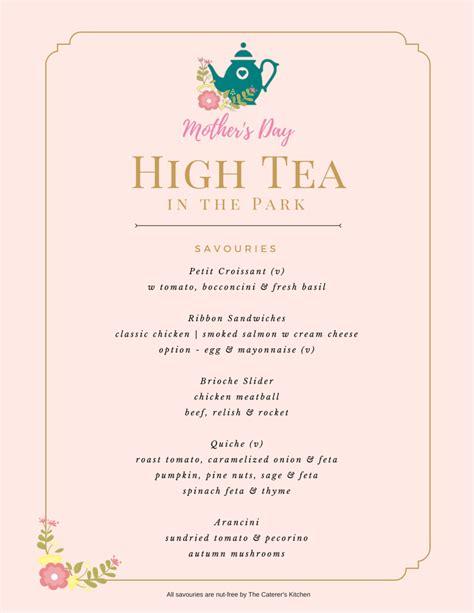 Tea Menu Template by Menu High Tea Menu Template