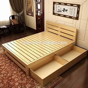 Solid Wooden Double Bed With Box,Teak Wood Modern Bed ...