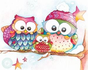 Cute Owl Art for Winter / Winter Watercolor Owl Print / Baby