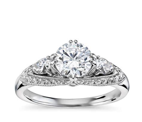 truly zac posen vintage three stone diamond engagement ring in 14k white gold 1 2 ct tw