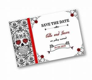 sugar skull damask red black and white wedding save the With wedding invitations with matching save the date